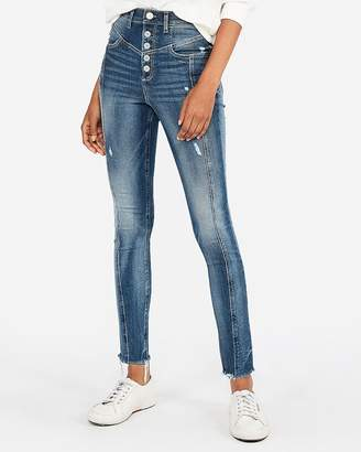 Express Super High Waisted Seamed Button Fly Jean Leggings