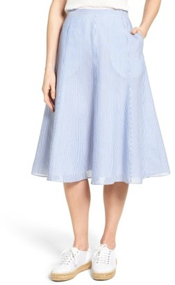 Women's Nordstrom Collection Stripe Linen Blend Skirt $249 thestylecure.com