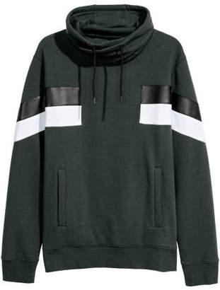 H&M Chimney-collar Sweatshirt - Green