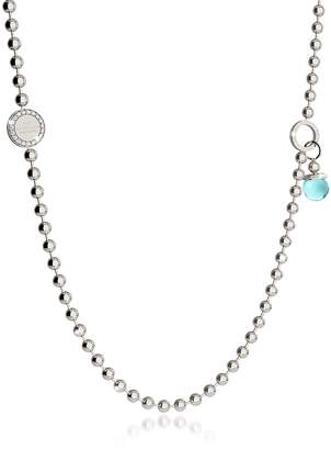 Rebecca Boulevard Stone Rhodium Over Bronze Necklace w/Double Charms