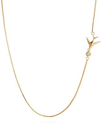 Lee Renee Swallow Necklace White Sapphire & Gold