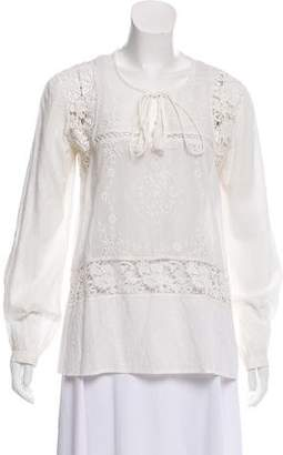 Tolani Crochet-Trimmed Embroidered Top w/ Tags