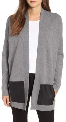 Eileen Fisher Cashmere & Wool Cardigan with Leather Pockets (Regular & Petite)