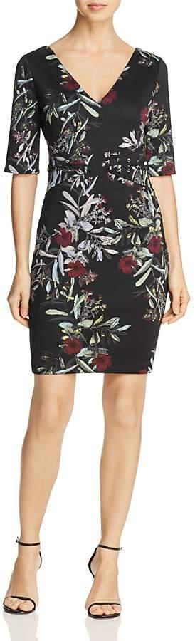 GUESS Natasha Floral Print Lace-Up Dress