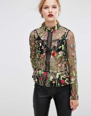 ASOS Premium Embroidered Mesh Blouse $76 thestylecure.com