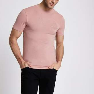 River Island Mens Pink chest embroidered muscle fit T-shirt