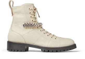 Jimmy Choo CRUZ FLAT Linen Grainy Leather Cruz Flat Boots with Crystal Detailing