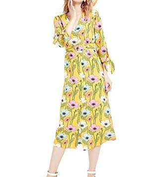 Basic Model Women's Floral Print Vintage V-Neck Boho 3/4 Sleeve Button Up Maxi Dress