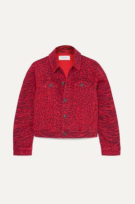 Current/Elliott The Baby Trucker Leopard-print Denim Jacket - Red