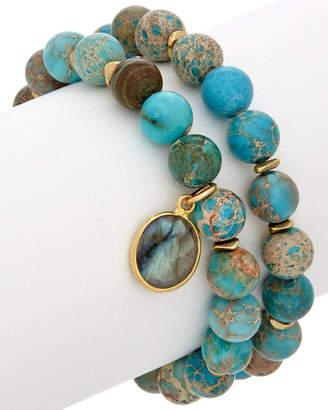 Rachel Reinhardt 14K Plated Set Of Two Turquoise & Labradorite Bracelets