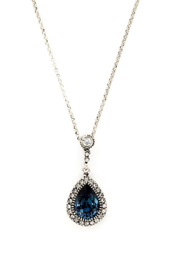 Azaara Blue & Clear Crystal Teardrop Pendant Necklace