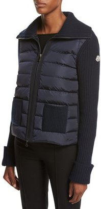 Moncler Maglia Zip-Front Knit Combo Jacket, Navy $840 thestylecure.com