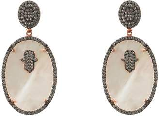 Mother of Pearl Latelita - Hamsa White Oval Earring