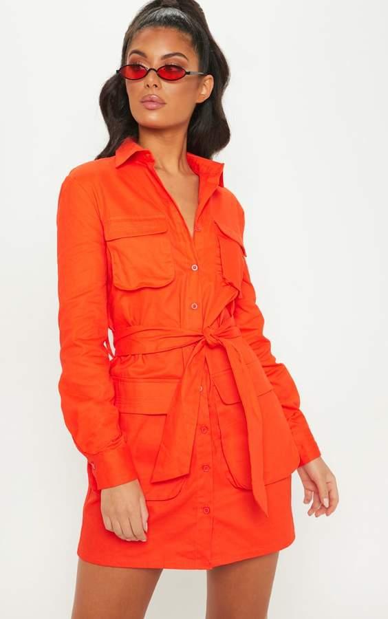 Orange Utility Shirt Dress
