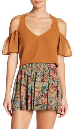 Show Me Your Mumu Hazel Cold Shoulder Ruffle Sleeve Top