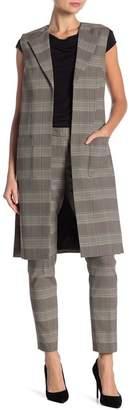 Modern American Designer Long Plaid Duster Vest