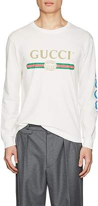Gucci Men's Dragon-Embroidered Cotton Long-Sleeve T-Shirt - White