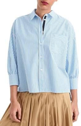 J.Crew J. Crew Stripe Oversize Button Front Poplin Shirt