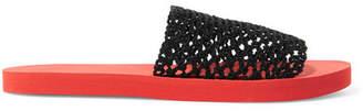 Ganni Liva Crocheted Slides - Red