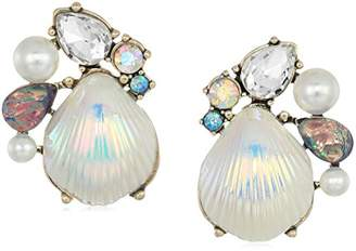 Betsey Johnson Women's Crabby Couture Seashell and Stone Cluster Stud Earrings