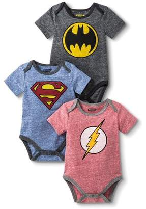 DC Flash, Batman and Superman Bodysuit Set, 3 pc set (Baby Boys)
