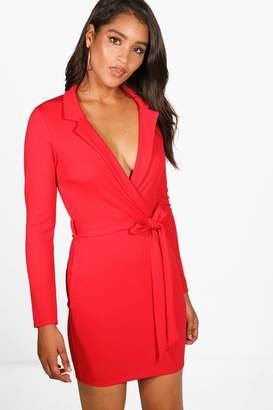 boohoo Belted Long Sleeve Bodycon Dress