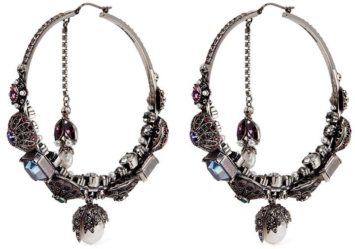 Alexander McQueenAlexander McQueen Swarovski crystal natural pearl creole earrings