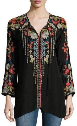 Johnny Was Emily Embroidered Tie-Neck Tunic, Plus Size $265 thestylecure.com