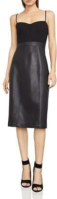 BCBGMAXAZRIA Nalia Faux-Leather Detail Bustier Dress