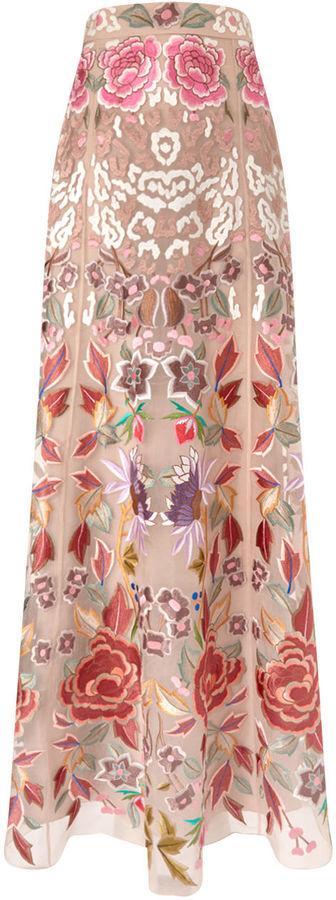 Temperley London Blush Embroidered Long Silk Tulle Skirt