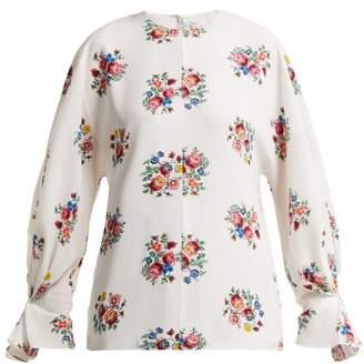 Emilia Wickstead Dana Floral Print Crepe Blouse - Womens - White Print