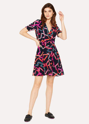 Paul Smith Women's Dark Navy 'Ribbon' Print Silk-Blend Wrap Dress