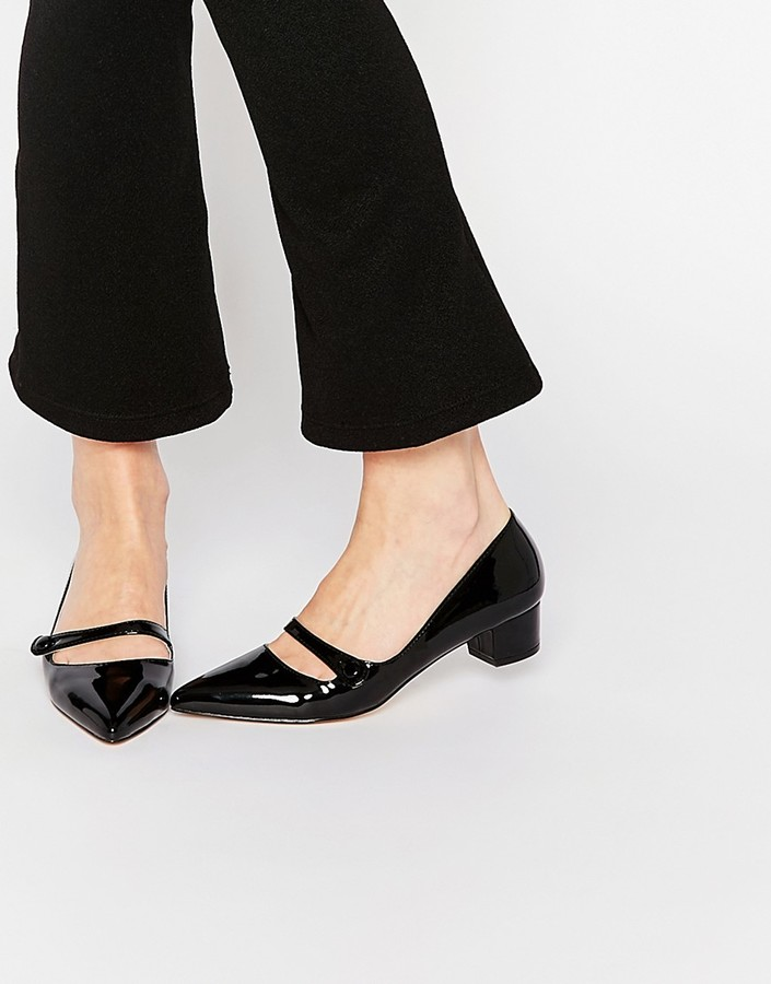 Miss KG Audrina Black Patent Mid Heeled Mary Jane Heeled Shoes