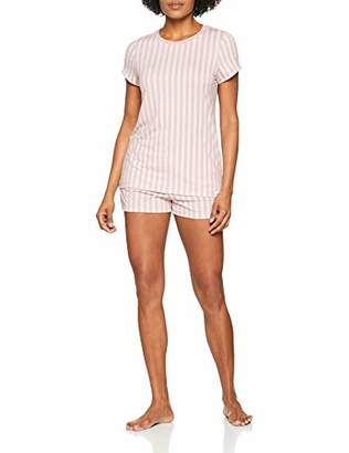 Skiny Women's's Roots Sleep Pyjama Kurz Set, Pink (Smokerose Stripe 79) (Size: 44)