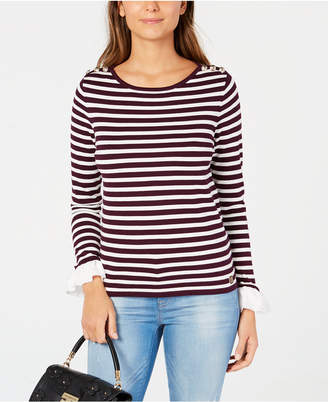 Tommy Hilfiger Striped Ruffled-Cuff Sweater