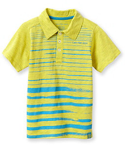 Calvin Klein Jeans Boys' 8-20 Yellow Short Sleeve Painterly Polo
