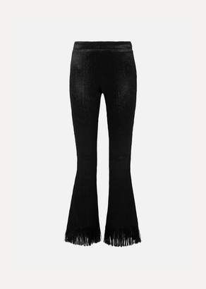 Chloé Fringed Crushed-velvet Flared Pants - Black