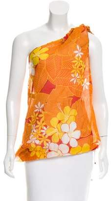 DSQUARED2 Floral Print One-Shoulder Top w/ Tags
