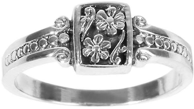 Sterling silver antiqued-floral square ring