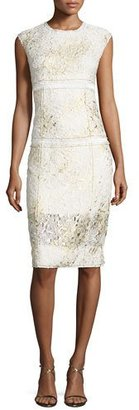 DKNY Sleeveless Mixed-Media Sheath Dress, Gesso $798 thestylecure.com