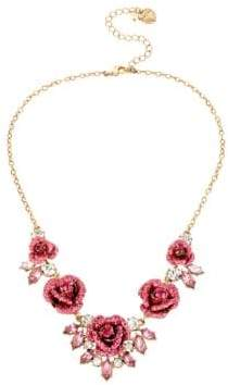 Betsey Johnson Glitter Rosette Statement Necklace
