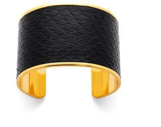 Aspinal of London Cleopatra Cuff Bracelet In Black Python