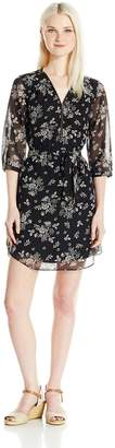 Amy Byer A. Byer Women's 3/4 Sleeve Printed Front Zip Dress with Self Belt