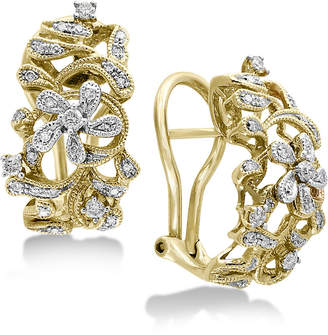 Effy Duo by Diamond Openwork Floral Drop Earrings (3/8 ct. t.w.) in 14k Gold & White Gold