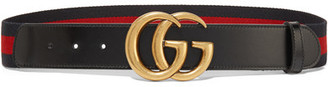 Gucci - Leather-trimmed Striped Canvas Belt - Black $395 thestylecure.com