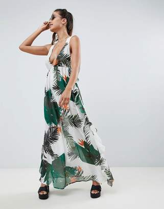 Asos Design DESIGN tropical print frill back beach maxi dress
