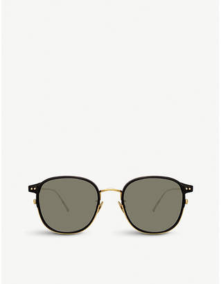 Linda Farrow 803 C1 yellow gold-plated titanium and acetate square sunglasses