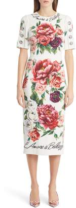 Dolce & Gabbana Jewel Button Peony Print Cady Dress