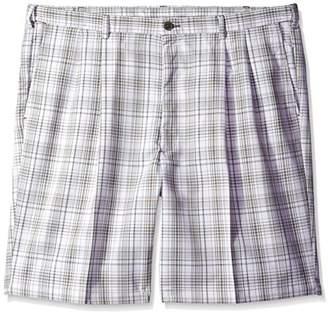 Haggar Men's Big-Tall Cool 18 Yarn Dye Check Pleat Front Short
