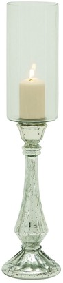 Mercury Glass Pillar Hurricane 21'' Candle Holder